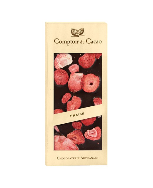 Tavoletta di cioccolato fondente - fragola - Comptoir du Cacao