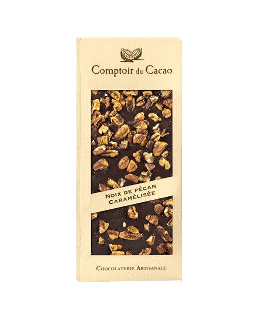 Tavoletta di cioccolato fondente - noci pecan caramellate - Comptoir du Cacao