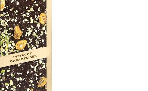 Tavoletta di cioccolato fondente - pistacchio caramellata - Comptoir du Cacao