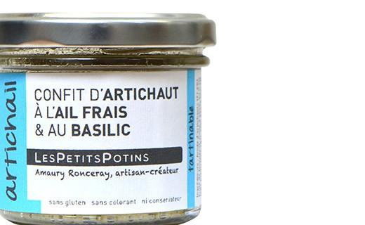 Confit di carciofi, aglio fresco e basilico - Les Petits Potins