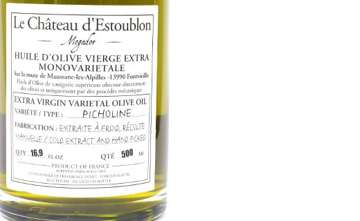 Olio extravergine d'oliva - Picholine 100%  - Château d'Estoublon