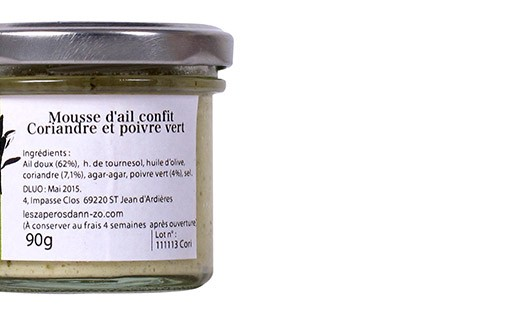 Mousse d'aglio confit al coriandolo e al pepe verde - Les Petits Potins