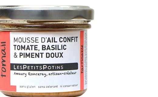 Mousse d'aglio confit, pomodori e basilico - Les Petits Potins