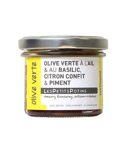 Olive verdi al basilico e all'aglio fresco