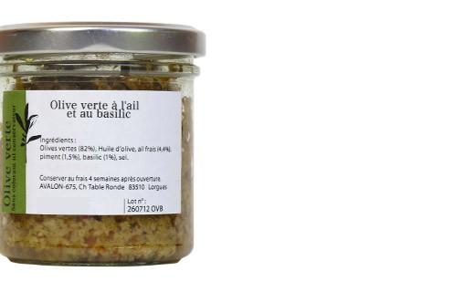 Olive verdi al basilico e all'aglio fresco - Les Zapéros d'Ann-Zo'